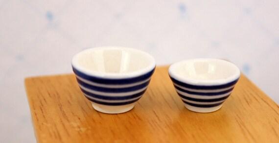 Miniature Mixing Bowls Dollhouse Dishes Blue Stripe