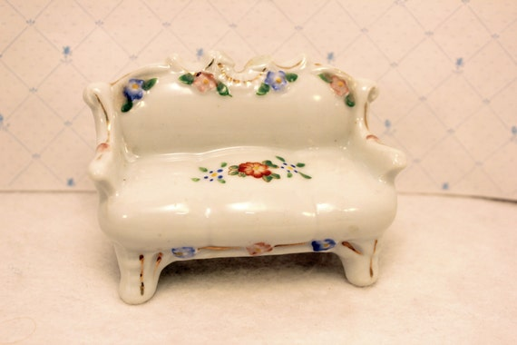 Miniature Porcelain Settee Sofa Couch Figurine Japan