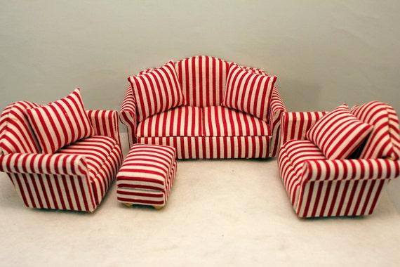 Dollhouse Furniture Set Sofa 2 Chairs Stool Red Stripe