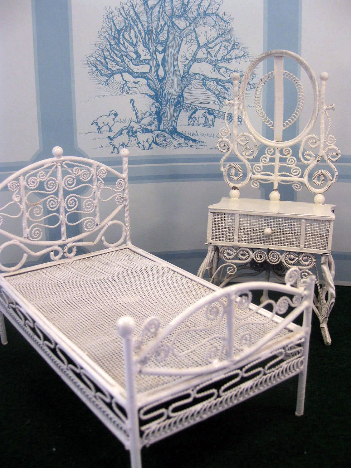dollhouse furniture wicker bedroom set victorian miniature 13869 | il fullxfull 258982006