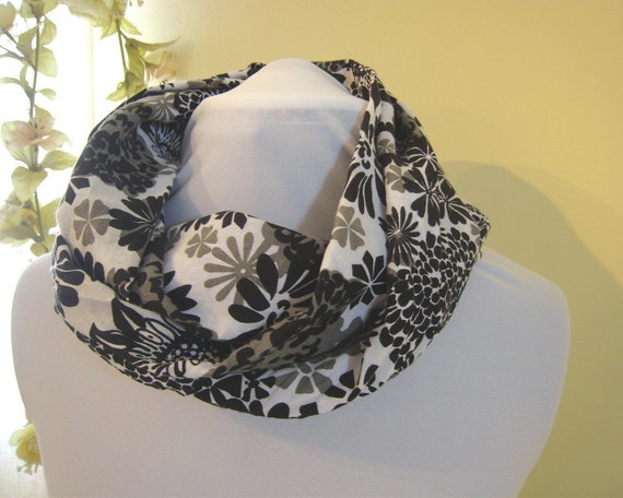 Infinity Scarves  Circular Scarf  Black and Gray
