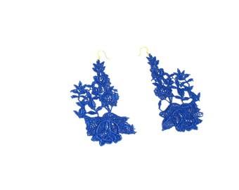 Blue Lace Flower Earrings