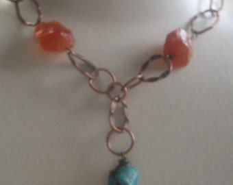Copper Link Carnelian and Turquoise Necklace