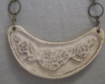 Unique Carved Pendant with Brass Chain