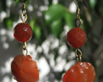 Carnelian and Brass Earrings
