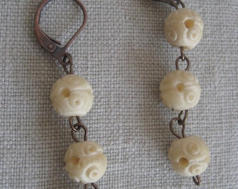 Vintage Carved Bone Earrings