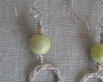 Sterling Silver Ring and Yellow Jade Earrings