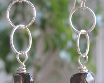 Smokey Quartz and Sterling Silver Earrings