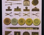 SALE - Antique Motif Realistic Office Supplies Japanese Stickers -scissors, clips, inkwell, pen, stamps, wax seal, scale, compass