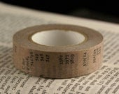 Antique Old Book Page with Letters and Numbers in Sand Brown Washi Paper Masking Tape-16.5 YARDS
