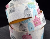 Handmade PEEL AND STICK Pastel Bird Cages Adhesive Fabric Deco Tape-for Crafting, Scrapbooking, Gift Wrapping, Decorating