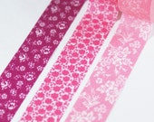 PUNCHY FLOWERS pretty roses and blooms on pink and purple Set of 3 Coordinating Washi Paper Masking Tapes-49.5 yards total