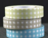 SOFT GINGHAM TRIO- blue, tan, muted yellow-green - Set of 3 Coordinating Washi Paper Masking Tapes-49.5 yards total
