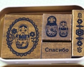 Russian Matryoshka Dolls and Flowers Themed Gift Tin of 4 Japanese Wood Mounted Rubber Stamps