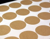 Kraft brown labels - 72 BLANK 1 2/3 inch Round circle Stickers for Labeling, Custom Printing, Packaging, invitations