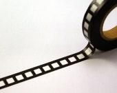 Skinny Film Strip Reel on BLACK Washi Masking Tape-16.5 YARDS