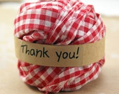 "4 Yard mini Ball of 1"" wide charming upcycled Christmas Red Gingham Checkered FABRIC RIBBON - for Crafting, Gift Wrapping, Decorating"