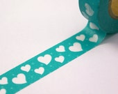 WHIMSICAL HEARTS & DOTS Bright Blue-Green Washi Paper Masking Tapes-16.5 yards total