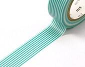 TEAL GREEN Skinny Stripes or lines Washi Paper Masking Tape-11 YARDS
