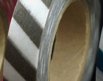 Washi tape Airmail Stripes - Olive Brown