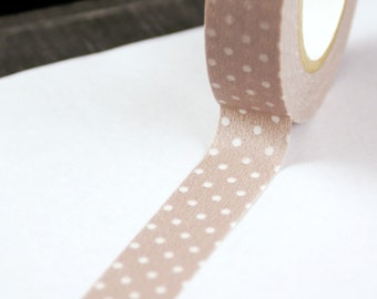 Cafe au Lait Light Brown with Clear Dots Washi Paper Masking Tape-16.5 YARDS