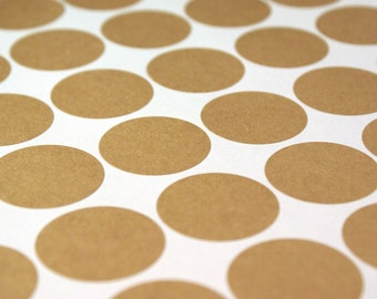 Kraft brown labels - 189 BLANK 1 inch round Stickers for Labeling, Custom Printing, Packaging