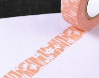 Classiky Japanese washi tape - JAPANESE BLOOMS on spring peach pink masking tape