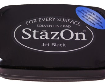 JET BLACK - STAZON Solvent-based Ink Pad for metal, leather, acrylic, shrink plastic, foil, glass, glassine