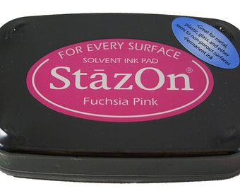 FUCHSIA PINK Tsukineko brand STAZON Solvent-based Ink Pad for metal, leather, acrylic, shrink plastic, foil, glass, glassine bags