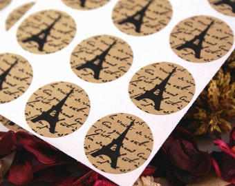 Vintage Style FRENCH SCRiPT & EIFFEL TOWER Mini 1 inch round Kraft Circle Stickers for invitations, weddings