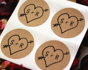 CUSTOM INITIALS Wedding Stickers - Rustic Arrow & Heart save the date labels - 1 inch round Stickers - wedding invitations, save the date