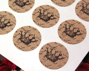 Vintage Style FRENCH SCRIPT & CROWN Mini 1 inch round Kraft Circle Stickers for invitations, weddings