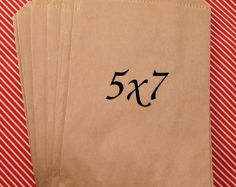 100 MEDIUM Kraft brown paper bags 5 x 7 inch - for Packaging, Party Favors, merchandise bags, gift wrapping