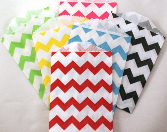GRAB BAG SALE - 50 Mini chevron party favor bags - 2.75 x 4 small chevron favor bags - candy buffet bags, party favor bags, packaging