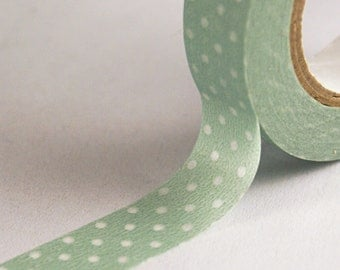 Pale Aqua Green with Clear Dots Washi Paper Masking Tape-16.5 YARDS