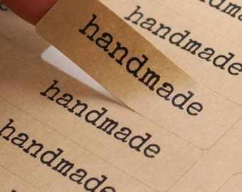 80 HANDMADE typewriter font Brown Kraft Labels - 1/2 x 1 3/4 inch kraft stickers - wedding favors, gift wrapping, packaging