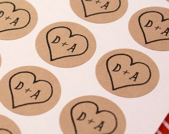 CUSTOM INITiALS Personalized labels - Rustic HEART 1 inch round Kraft Circle Stickers for invitations, weddings