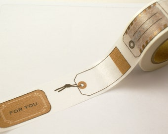 Washi tape FOR YOU Metallic BRONZE Mock Gift tags, Shipping Labels, Parcel Tags - Wide Masking Tape