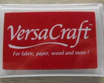 POPPY RED Ink Pad - Tsukineko brand VERSACRAFT ink - fabric, paper, wood, leather, unglazed ceramic, paper mache & shrink plastic