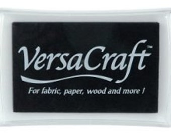 Black Ink Pad - Tsukineko brand VERSACRAFT ink - fabric, paper, wood, leather, unglazed ceramic, paper mache & shrink plastic