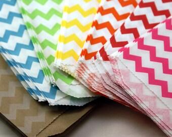 GRAB BAG SALE - 50 Chevron party favor bags - 5 x 7.5 chevron favor bags assortment - Wedding favor bags, Party Favor Bags