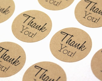 Kraft brown or White THANK YOU Stickers - 1 inch round Thank you labels - with thanks, wedding thank you stickers, thank you envelope seals