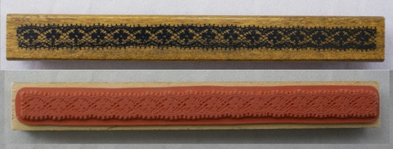Clover Detail Intricate Lace Ribbon Strip-Japanese Wood Stamp