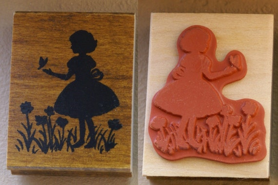 Old Fashioned Little Girl in a field of Butterflies & Wild Flowers  - Japanese Wood Stamp