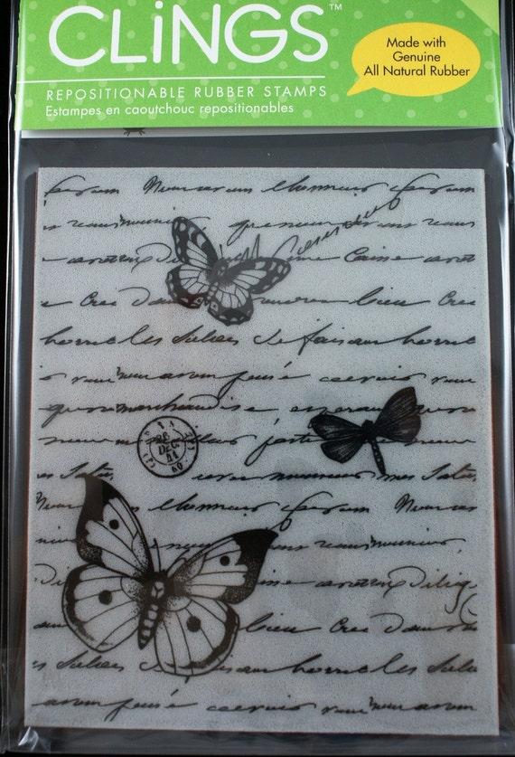 Fancy Script Writing, Postmark and Butterflies Background -HUGE Repositionable CLING Rubber Stamp