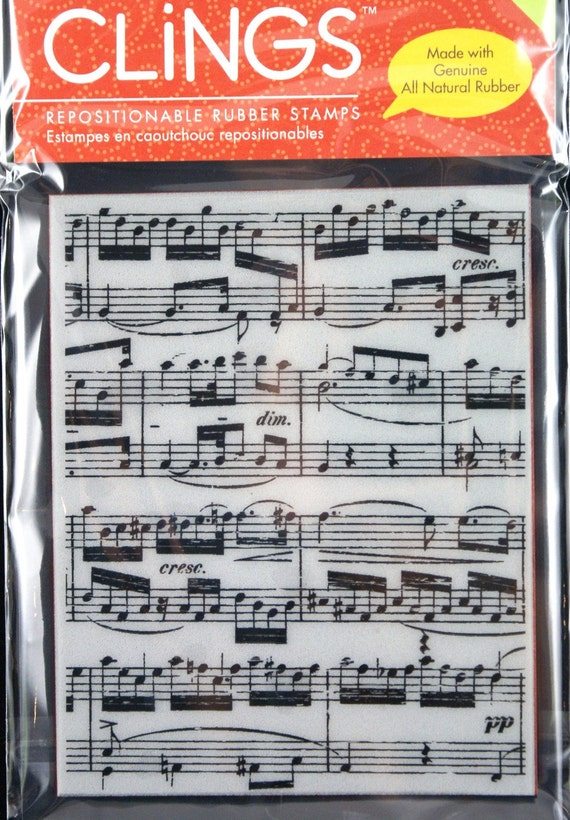 Clear Cling Stamps Sheet Music Background -Large Repositionable CLING Rubber Stamp