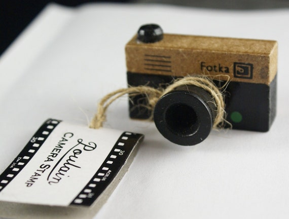 Old Fashioned or Antique Wooden 35mm FOTKA Camera Stamp
