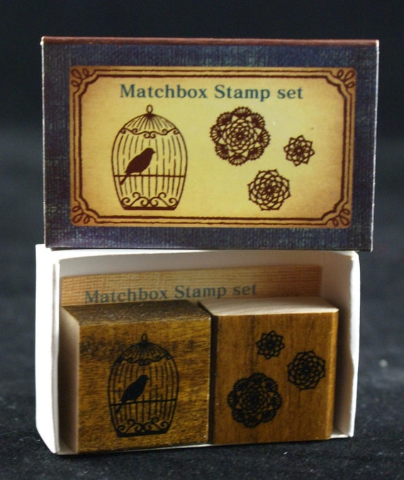 SALE - Bird in Cage and Lace Rounds - Doily Trio Matchbox Duet Set-Japanese Rubber Stamps