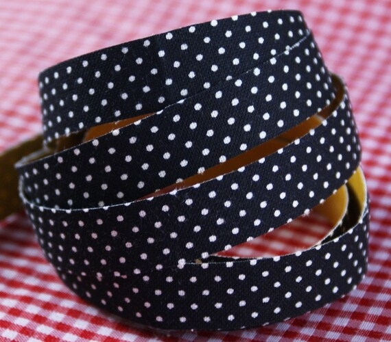 White SWISS DOTS on black Handmade Peel and STICK Adhesive Fabric Deco Tape-for Crafting, Scrapbooking,Gift Wrapping, Decorating