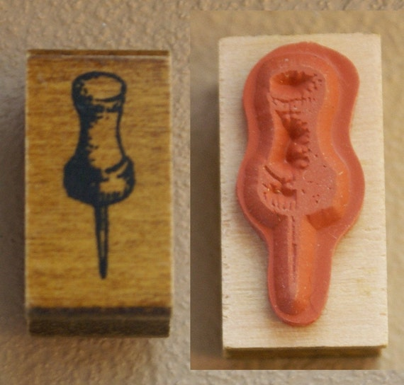 Shaded Office Supply Push Pin Japanese Wood Stamp